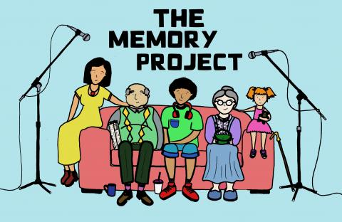 "Picture of five people sitting on a sofa with microphones on each side and the title ""The Memory Project"""