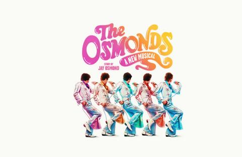 The Osmond brothers depicted in white 70s style flared suits dancing in a line