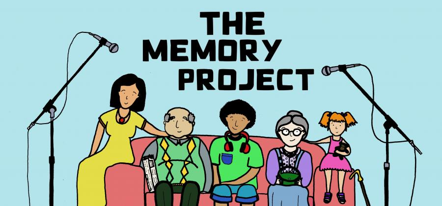 """Picture of five people sitting on a sofa with microphones on each side and the title """"The Memory Project"""""""