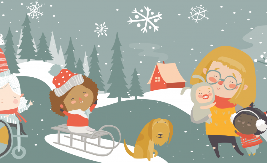 Illustrated scene with a child in a wheelchair, one on a sled with a dog and a mother in the snow